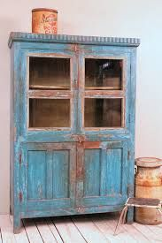Vintage Distressed Bright Blue Lightly Restored Indian Industrial Glass Storage Curio Bathroom Cabinet- could use as a dresser, love the color Primitive Furniture, Distressed Furniture, Handmade Furniture, Vintage Furniture, Painted Furniture, Furniture Projects, Furniture Makeover, Diy Furniture, Sideboard Furniture