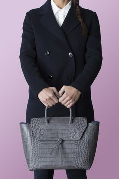 2e99be086511 Alexandra de Curtis Grey Crocodile Embossed Loren Tote Italian Leather  Handbags