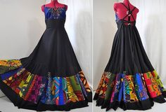 Midnight Ballad - Long Vibrant African Dress, One of a kind,  Black Bohemian Ethnic Gown, Ooak Boho Halter Dress, Ideal for sz  L, maybe xL