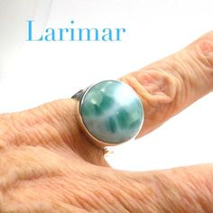Larimar Ring 925 Sterling Silver | from Dominican Republic Caribbean | Size 7 | Leo Stone | Pectolite | Crystal Heart Melbourne Australia since 1986