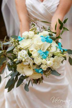Beautiful bouquet of white roses and lilies