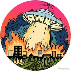 When they come from the deep space and start to burn your beloved city or town all you wanna scream is & don& want to believe anymore!& But right now we are safe from this threat so we can enjoy colorful stickers here and there Desenho Pop Art, Graffiti, Japon Illustration, Trippy Painting, Posca Art, Alien Art, Flying Saucer, Aesthetic Stickers, Aesthetic Art
