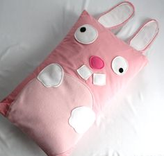 Pink Bunny Pillow Sham by WildRabbits on Etsy