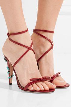 Gucci | Embellished leather sandals | NET-A-PORTER.COM