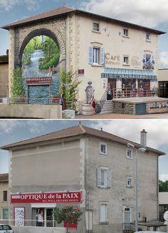fachadas-falsas- Resultado do talento do artista francês Patrick Commecy.  Patrick é um tipo de muralista que transforma muros – e às vezes um prédio inteiro – totalmente sem graça em verdadeiras obras de arte.