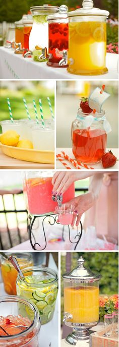 "Bar à limonade - really like this idea. Brings in a lot of color and is fun along with the cake. Could fit in the forest of for a ""mariage champêtre"" ! Cocktails Bar, Bar Drinks, Cocktail Drinks, Beverages, Drink Party, Tea Party, Drink Dispenser, Our Wedding, Drink Display"
