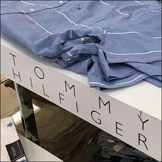 Here Tommy Hilfiger Branding An Obvious Edge in a center aisle display. The designer's name faces both into and away from the store entrance. Tommy Hilfiger Brand, Pos, Visual Merchandising, Close Up, Branding, Inspiration, Biblical Inspiration, Brand Identity, Identity Branding