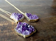 amethyst cluster necklace long gold amethyst by WyomingCreative, $45.00
