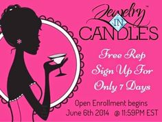 Guys!!! They extended the Free sign up to Sunday at midnight!!! Get your friends get your family and sign up for free!!!! No hidden charges or fees unless you want a REP kit!!! But you don't need one:) https://www.jewelryincandles.com/store/alexis_loperena