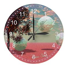 Abstract Peach Fantasy – Teal and Apricot Retreat Wallclocks