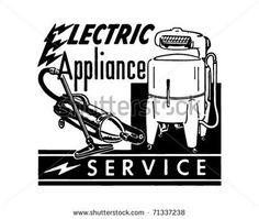 Electric Appliance Service - Retro Ad Art Banner #HomeAppliancesBanner