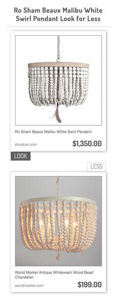 Ro Sham Beaux Malibu White Swirl Pendant vs World Market Antique Whitewash Wood Bead Chandelier