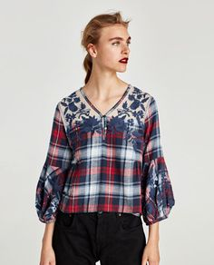 Image 2 of EMBROIDERED CHECKED TOP from Zara