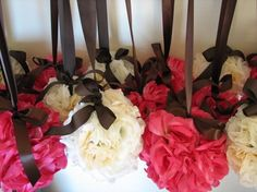 Inexpensive Wedding Décor Ideas: DIY Wedding Pomanders tissue paper and awesome ribbon....