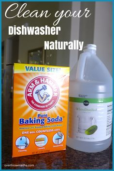 de-crud the dishwasher: place a bowl with 1/2 c white vinegar on the top rack, and run a normal cycle (with hot water). Then sprinkle about 1/2 c baking soda in the bottom of the dishwasher, and run another hot cycle
