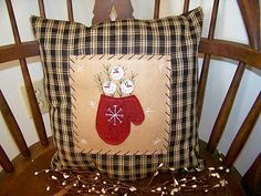 Snowman Winter Pillow Cover Christmas Country Primitive Decor Stitchery Handmade | eBay