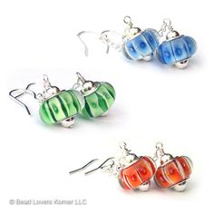Celestial Orb Glass Earrings Fun Space Jewelry by beadloverskorner, Cosmic Blue, Galactic Green, Orbit Orange shown, $28.00 each pair