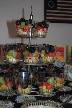 fruit cups in cupcake stand