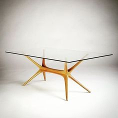 Great table designed by Tapio Wirkkala for Asko, Finland. 1958. Elm frame with glass top. #finland #finnish #midcenturymodern #woodwork