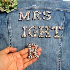 Black iron-on monogram letters, Rhinestone iron-on initials, Individual alphabet letter patches for clothes Sequin Patch, Low Cost Wedding, Wedding Decorations On A Budget, Clothing Patches, Sewing Appliques, Stocking Fillers, Sew On Patches, Monogram Letters, Initials