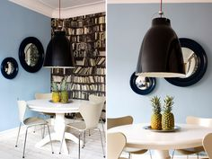desire to inspire - desiretoinspire.net  love the library wallpaper w. blue walls