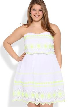 Deb Shops Plus Size Strapless Dress with Neon Embroidery $55.00