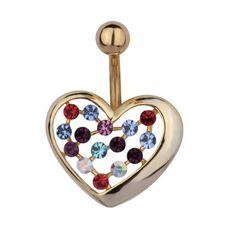 Piercing de ombligo con corazón dorado y mini cristales multicolor
