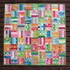 Colorful Patchwork Scrap Quilt.