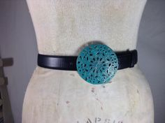 #handmade #leather #accessories on Etsy This #vintage #belt #buckle is a #unique piece. I used two processes to add the #turquoise and german silver wax patinas, and it is sealed to make sure that it won't fade. I wil... #trending #etsy #filigree #patina #women #retro #boho
