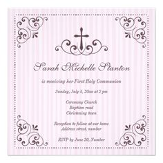 Elegant girls first communion invitation