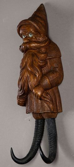 a nice carved wood dwarf coat hook, swiss 1900  #gnome #dwarf