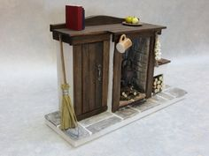 DollsHouse Furniture Fireplace with non - opening cupboard Door - Tudor,Medieval,Cottage,Fairy