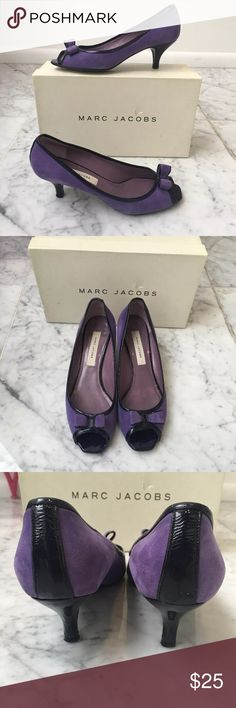 Marc Jacobs Purple Black Bow Open Toe Heels Marc Jacobs Purple Black Bow Open Toe Heels - Size 37.5  - used condition, wear marks and scratches at the bottom of the shoes - made in Italy Marc Jacobs Shoes Heels