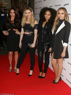 Black out: The girls went for head-to-toe black as they coordinated on the red carpet...