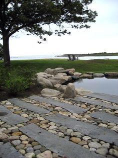 Pond terrace stonework