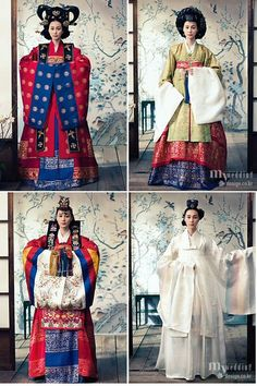 Various styles of traditional Korean wedding dresses (Hanbok). Korean Hanbok, Korean Dress, Korean Outfits, Korean Clothes, Korean Traditional Dress, Traditional Fashion, Traditional Dresses, Traditional Wedding, Oriental Fashion