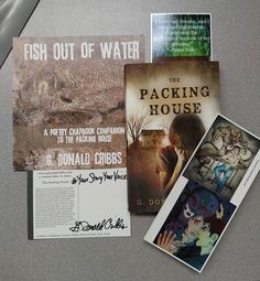 The Packing House Paperback, Chapbook, postcard, and oversized bookmark swag.