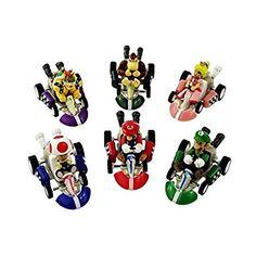 Amazon.com: Oliasports Mario Kart Cars Pull Backs Figure Set: Toys & Games