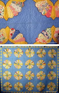 Dresden plate quilt, custom quilting by Lyn at Camlyn Quilts.  The blocks were found in pieces at an auction.