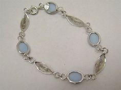 "SOLID 925 STERLING SILVER 7.5"" BRACELET LIGHT BLUE CHALCEDONY FILIGREE 6.9g #Chain"