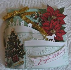 Sleigh Ride Edgelits, Jingle All the Way stamp, Home for Christmas DS paper - Stampin' Up Stampin Up Christmas, Christmas Cards To Make, Christmas Poinsettia, Xmas Cards, All Things Christmas, Handmade Christmas, Holiday Cards, Christmas Crafts, Tri Fold Cards