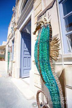 Glass Seahorse outside an Art Gallery in Oia, Santorini