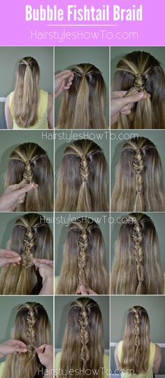 Bubble Fishtail Braid Tutorial - Hairstyles How To Down Hairstyles, Pretty Hairstyles, Braided Hairstyles, Hairstyle Ideas, Wedding Hairstyles, Medium Hair Styles, Curly Hair Styles, Sleek Ponytail, Hair Game