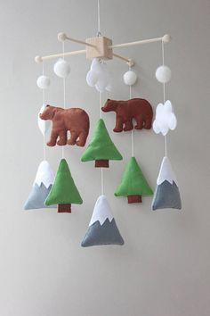 woodland mobile - baby mobile - mountain mobile - trees -boy nursery decor #affiliate