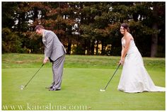 Golf Course wedding pictures... bahaha I can see this in your wedding album @Ashley Walters Gilmore