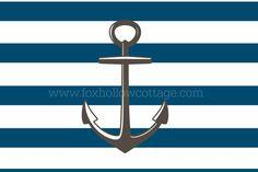 Free Printable Nautical Art - Blue Stripe Gray Anchor - www.foxhollowcottage.com