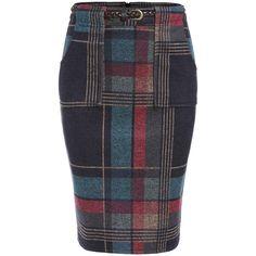 Colour Slim Plaid Pockets Skirt ($22) ❤ liked on Polyvore featuring skirts, tartan skirt, plaid skirt, pocket skirt, tartan plaid skirt and slimming skirts