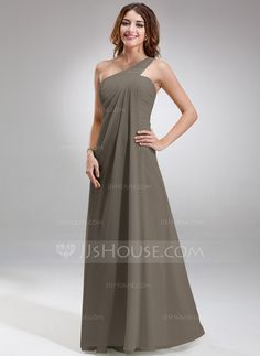 [AU$ 149.35] Empire One-Shoulder Floor-Length Chiffon Bridesmaid Dress With Ruffle (007063020)