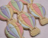 Up, Up and Away! Hot Air Balloon Decorated Sugar Cookies - Balloon Cookies, Birthday Party, Shower Cookies, Party Favors, Cookie Favors