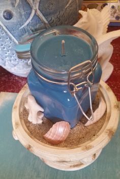 Agean Sea in a bottle!! Soy jar candle by KnumbSkull on Etsy